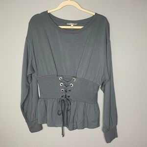 Express One Eleven Sage Green Corset Blouse
